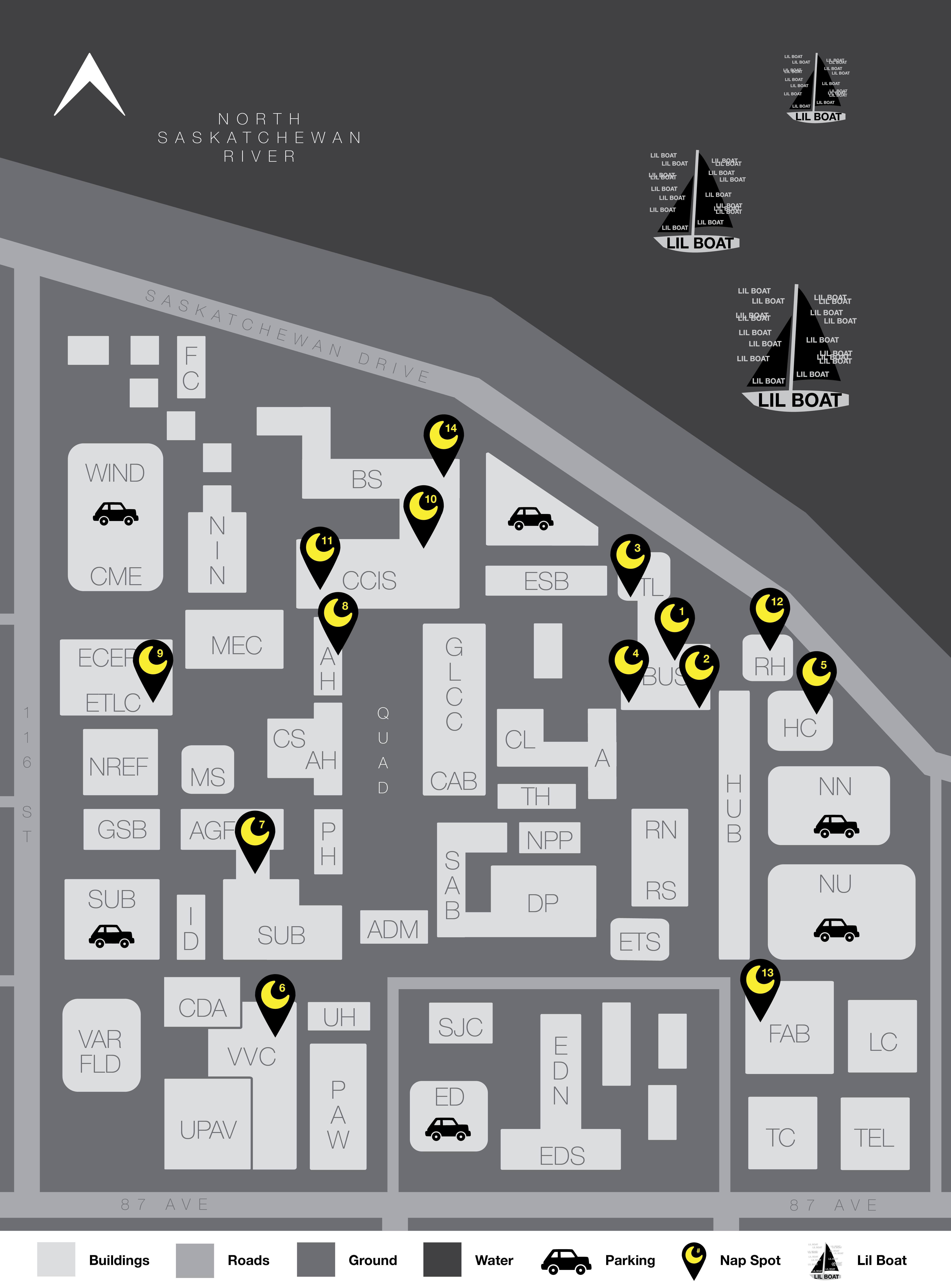 North Campus Nap Map: for the sleep deprived student needing to rest their noggin