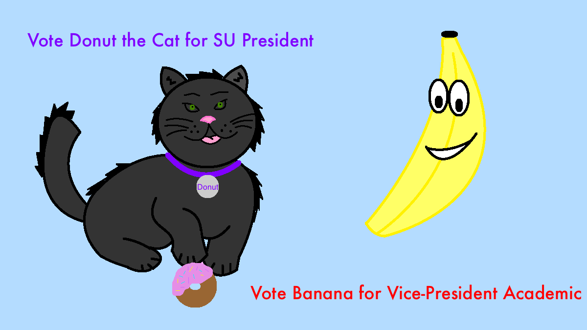 Donut the Cat and Banana the Hamster are running in this year's SU election race