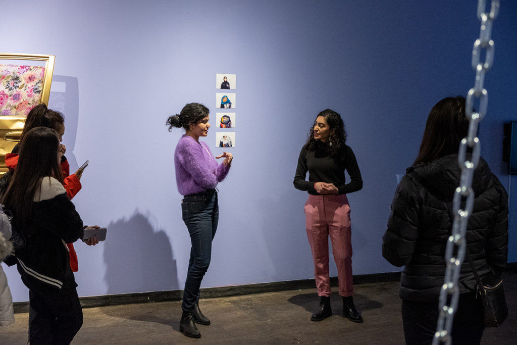 artist Durrah Alsaifand curator of even the birds are walking exhibit at latitude 53 gallery