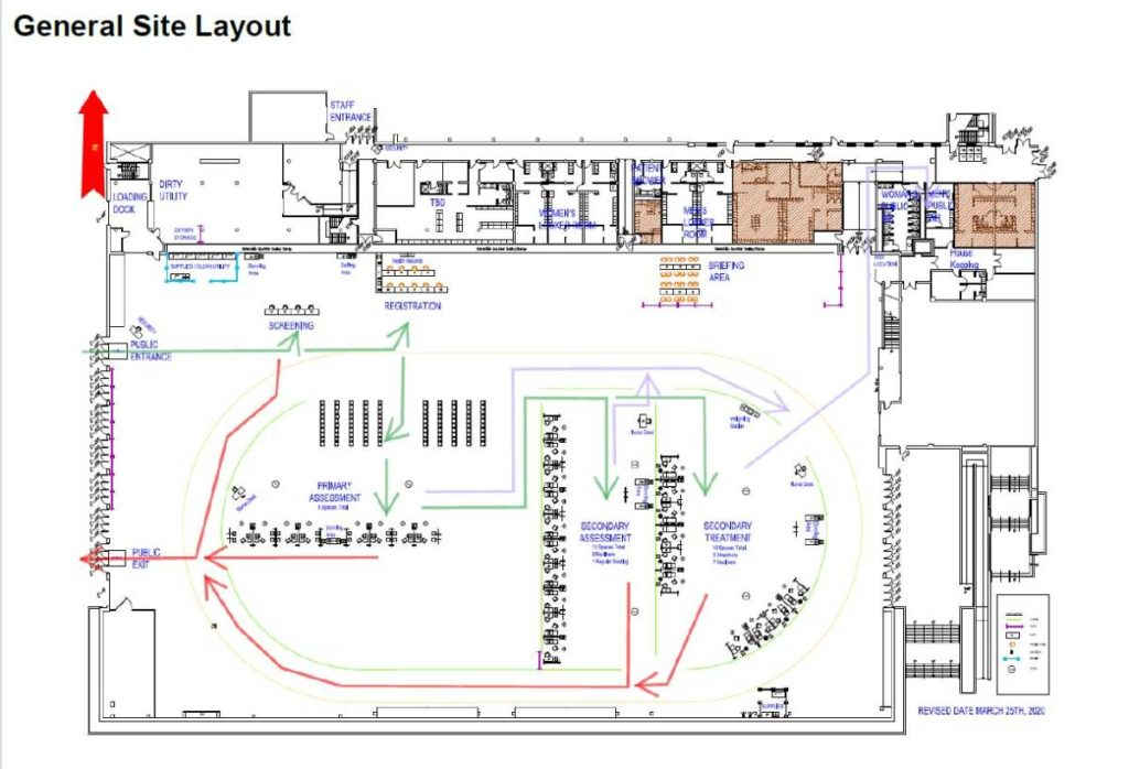 Alberta Health Services COVID-19 secondary treatment site Butterdome schematic